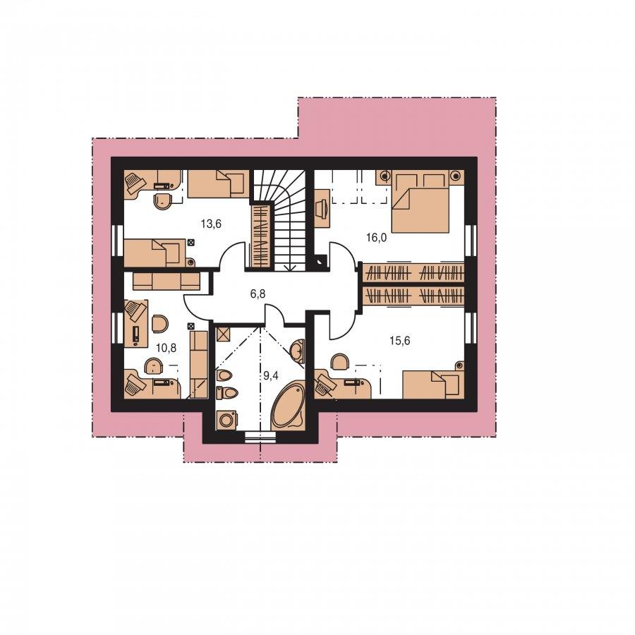 Pôdorys Poschodia - Projekt domu so sedlovou strechou