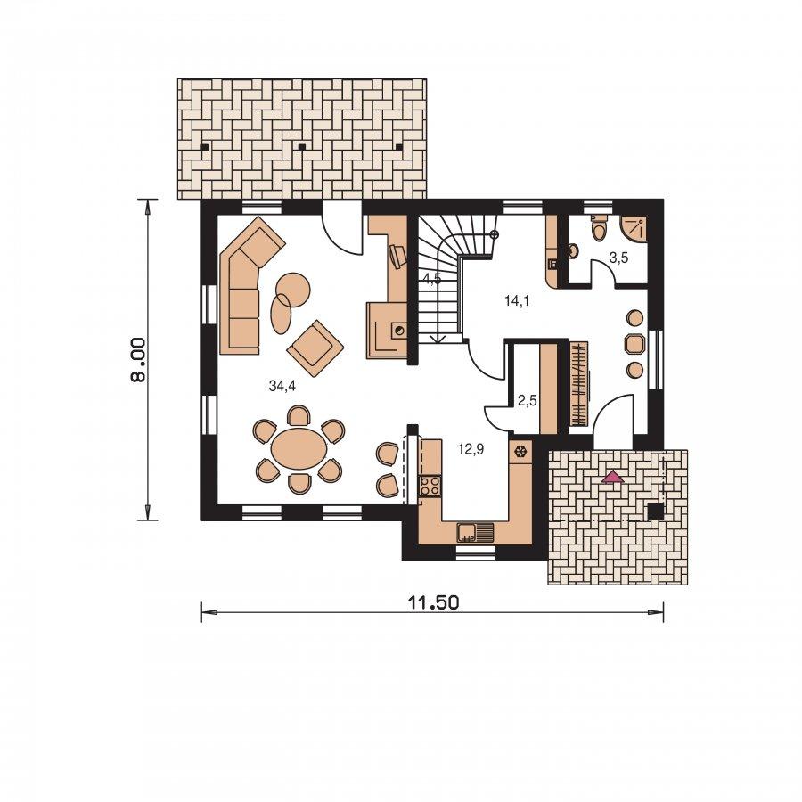 Pôdorys Prízemia - Projekt domu so sedlovou strechou