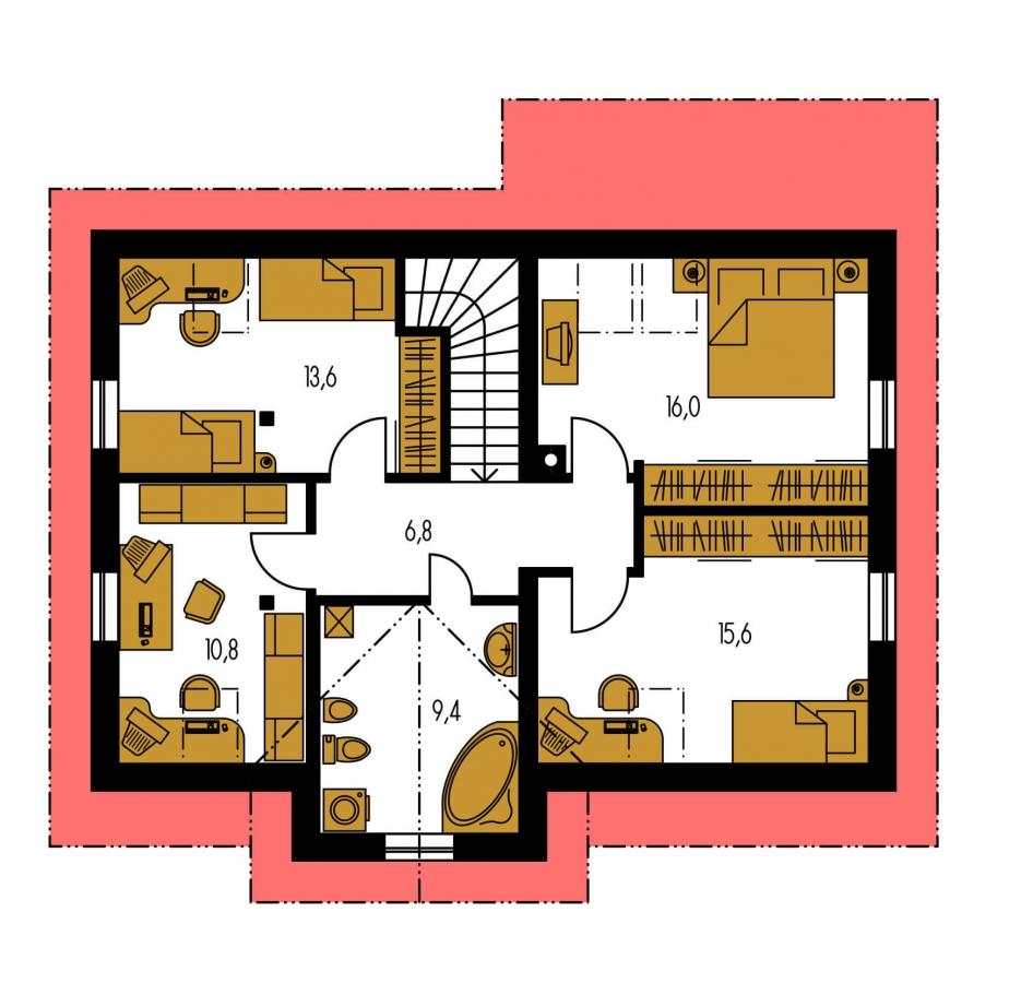 Pôdorys Poschodia - Projekt domu so sedlovou strechou.