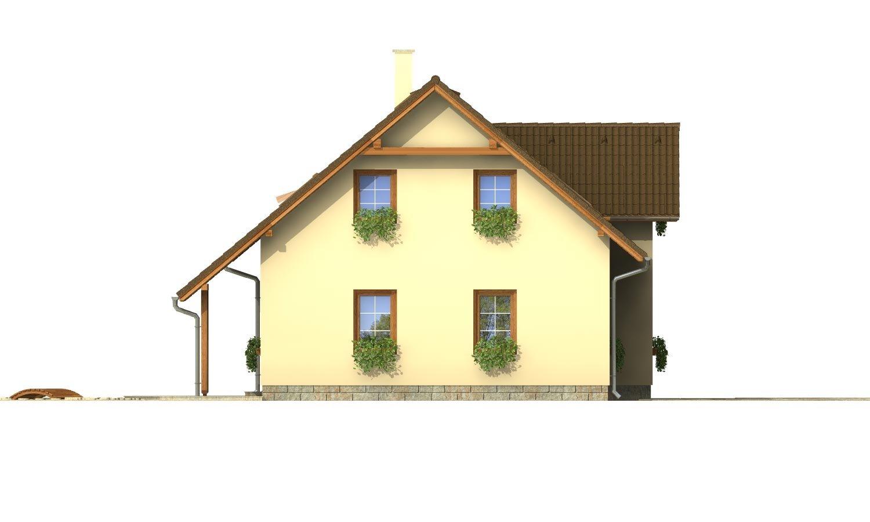 Pohľad 2. - Projekt domu so sedlovou strechou.