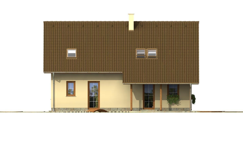 Pohľad 3. - Projekt domu so sedlovou strechou.