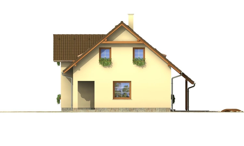 Pohľad 4. - Projekt domu so sedlovou strechou.