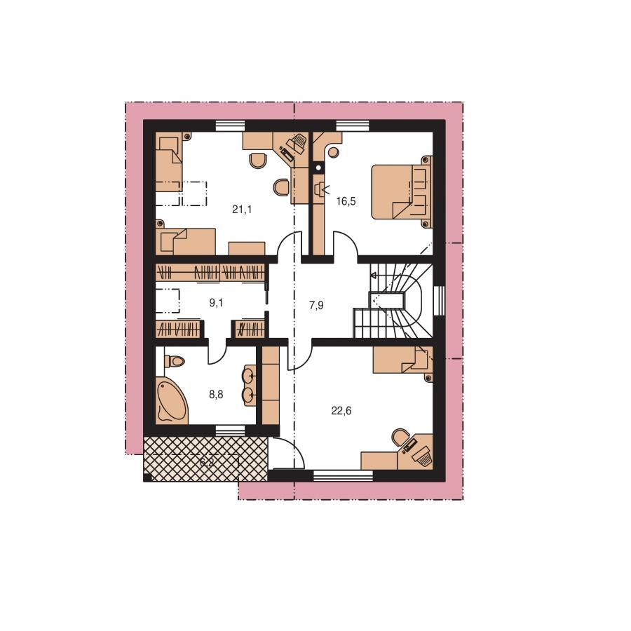 Pôdorys Poschodia - Priestranný dom s izbou na prízemí