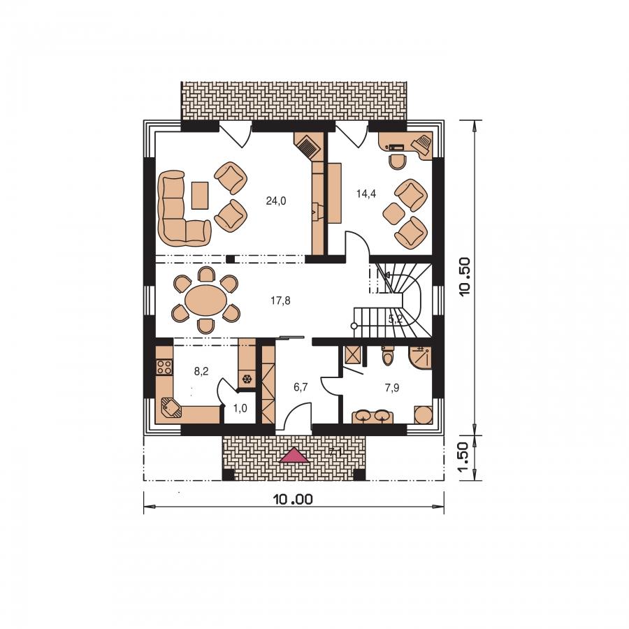 Pôdorys Prízemia - Priestranný dom s izbou na prízemí