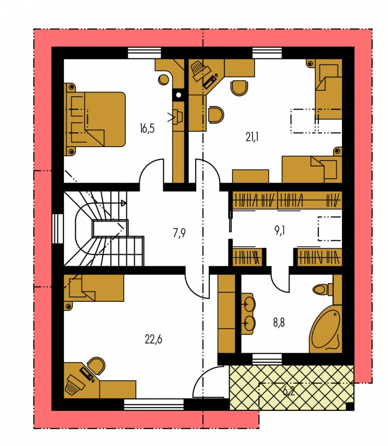 Pôdorys Poschodia - Priestranný dom s izbou na prízemí.