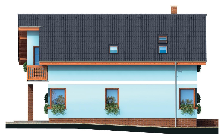 Pohľad 4. - Poschodový dom s krbom a sedlovou strechou.