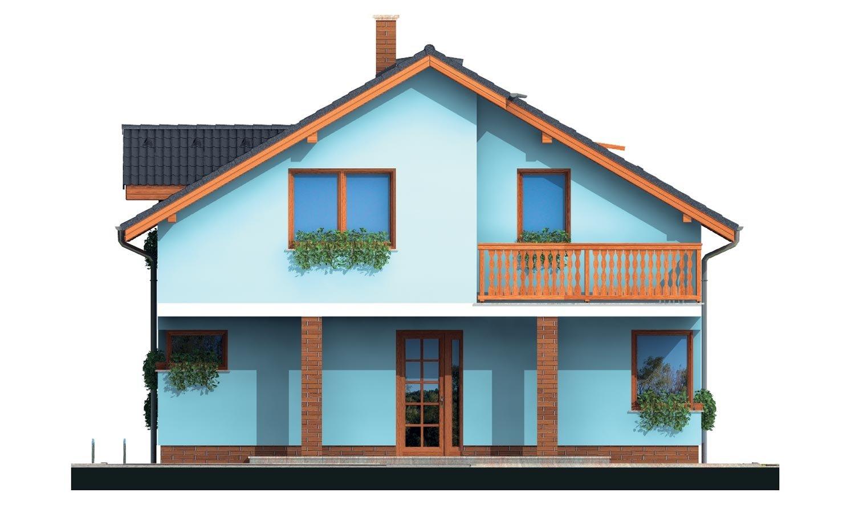 Pohľad 1. - Poschodový dom s krbom a sedlovou strechou.