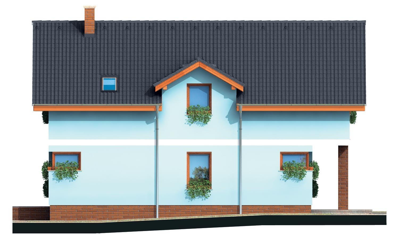 Pohľad 2. - Poschodový dom s krbom a sedlovou strechou.