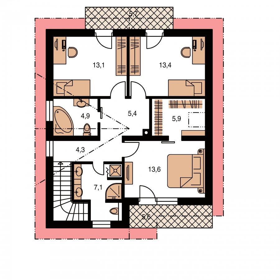Pôdorys Poschodia - Poschodový dom s krbom a sedlovou strechou