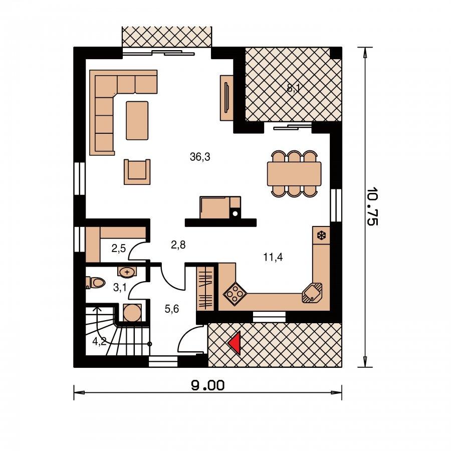 Pôdorys Prízemia - Poschodový dom s krbom a sedlovou strechou