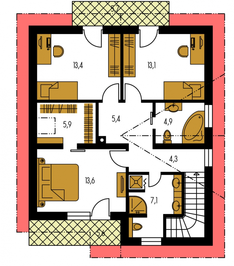 Pôdorys Poschodia - Poschodový dom s krbom a sedlovou strechou.