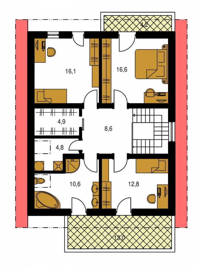 Pôdorys Poschodia - Projekt poschodového domu so zimnou záhradou