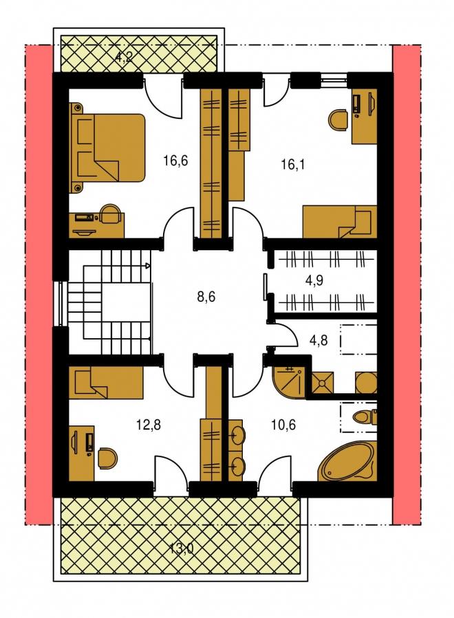 Pôdorys Poschodia - Projekt poschodového domu so zimnou záhradou a garážou.