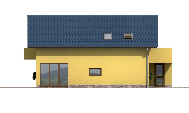 Pohľad 2. - Projekt poschodového domu so zimnou záhradou a garážou.