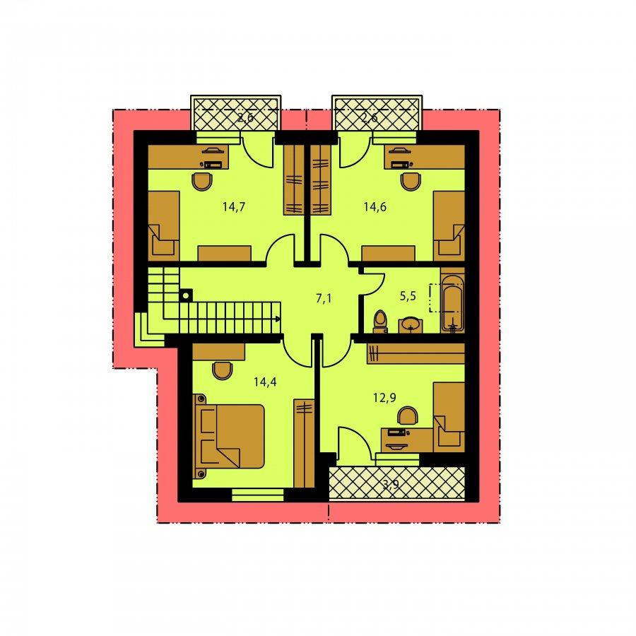 Pôdorys Poschodia - Dom s krbom a izbou na prízemí