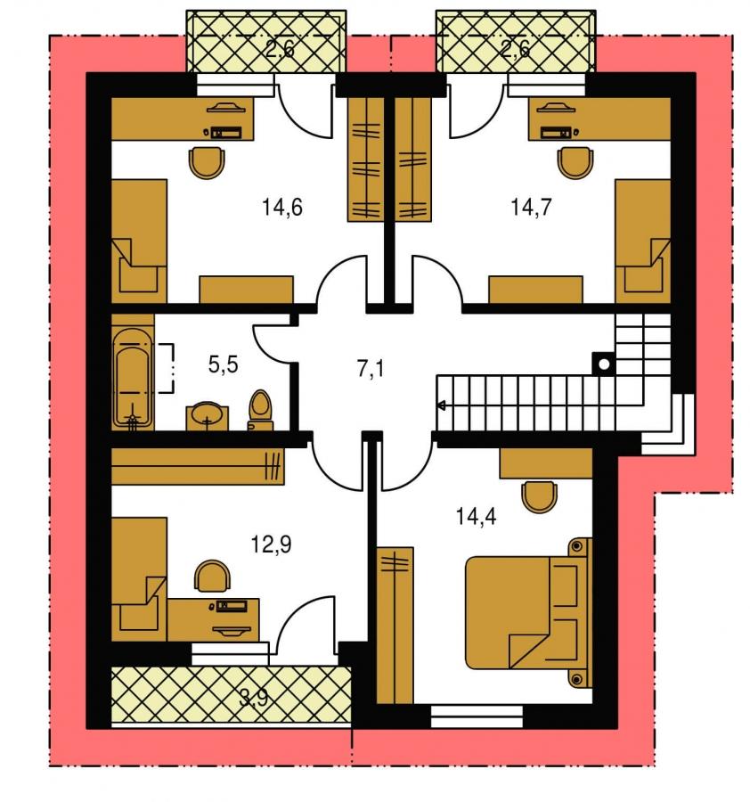 Pôdorys Poschodia - Dom s krbom a izbou na prízemí.