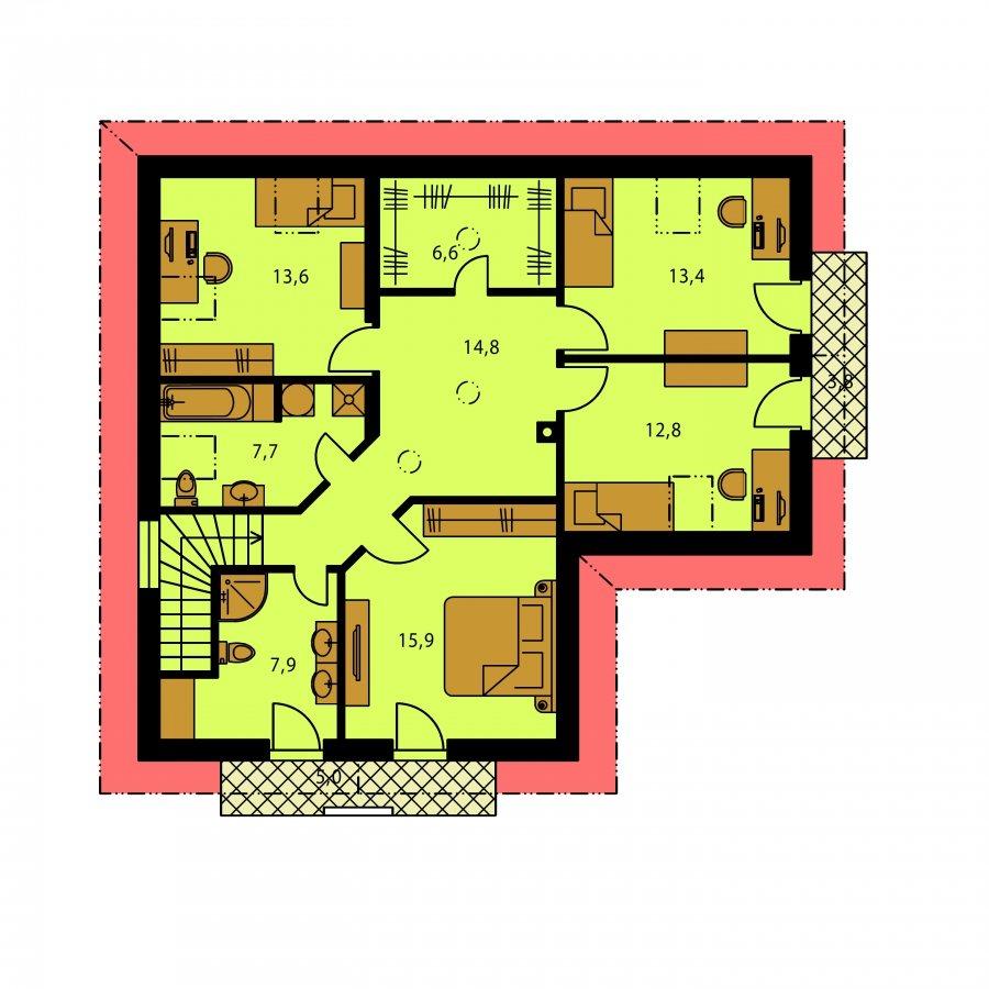 Pôdorys Poschodia - Veľký dom do tvaru L