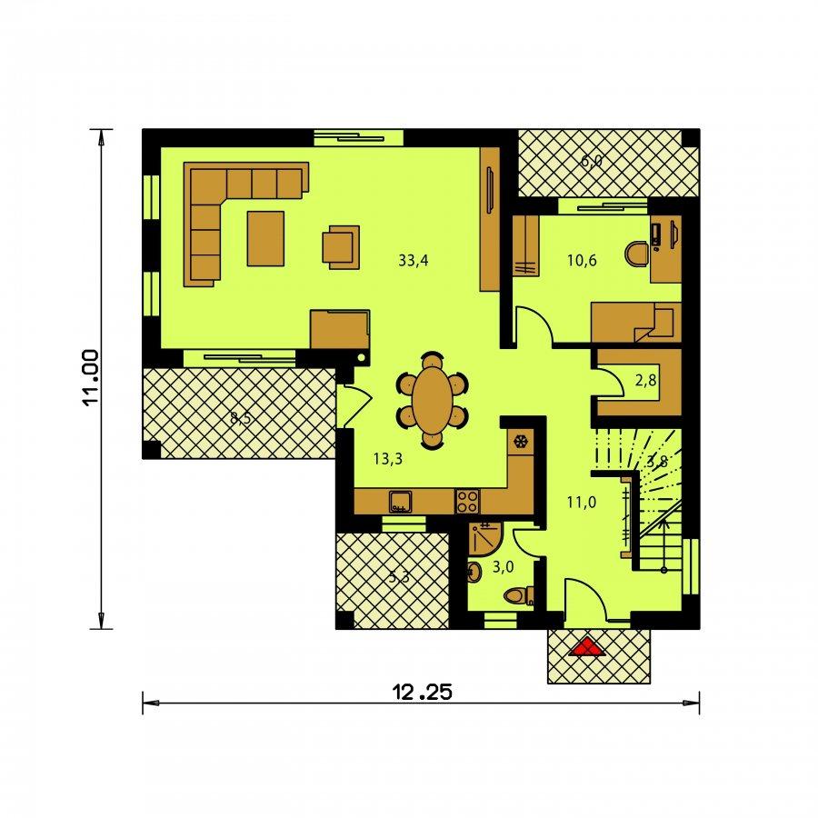 Pôdorys Prízemia - Veľký dom do tvaru L