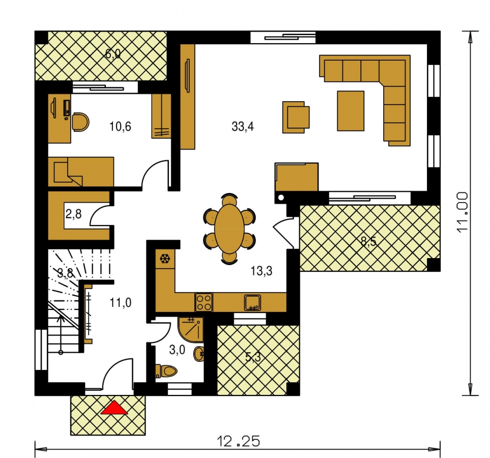 Pôdorys Prízemia - Veľký dom do tvaru L.
