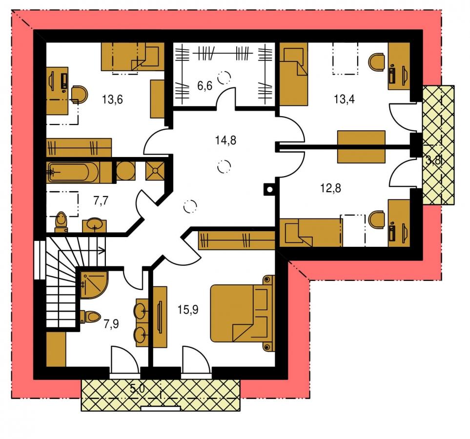 Pôdorys Poschodia - Veľký dom do tvaru L.