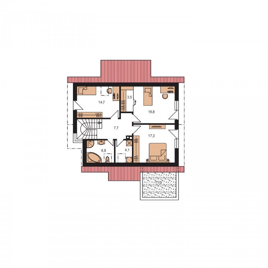 Pôdorys Poschodia - Moderný dom s obytným podkrovím a garážou