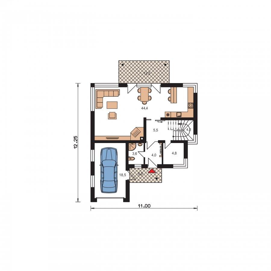 Pôdorys Prízemia - Moderný dom s obytným podkrovím a garážou