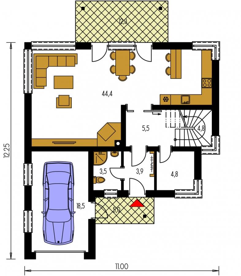 Pôdorys Prízemia - Moderný dom s obytným podkrovím a garážou.