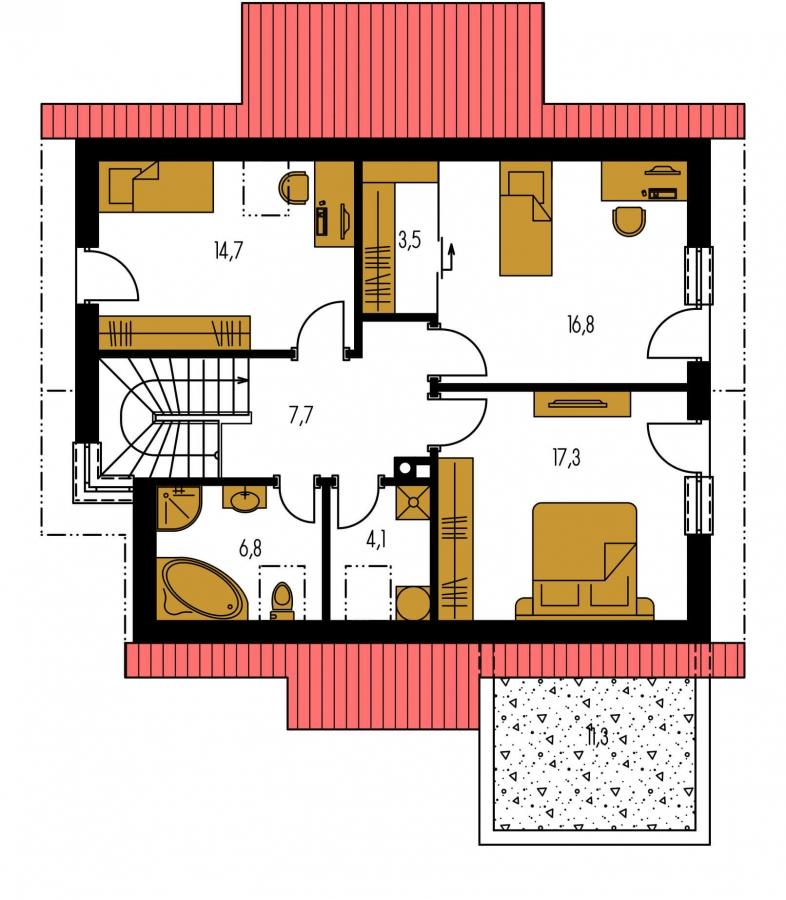 Pôdorys Poschodia - Moderný dom s obytným podkrovím a garážou.