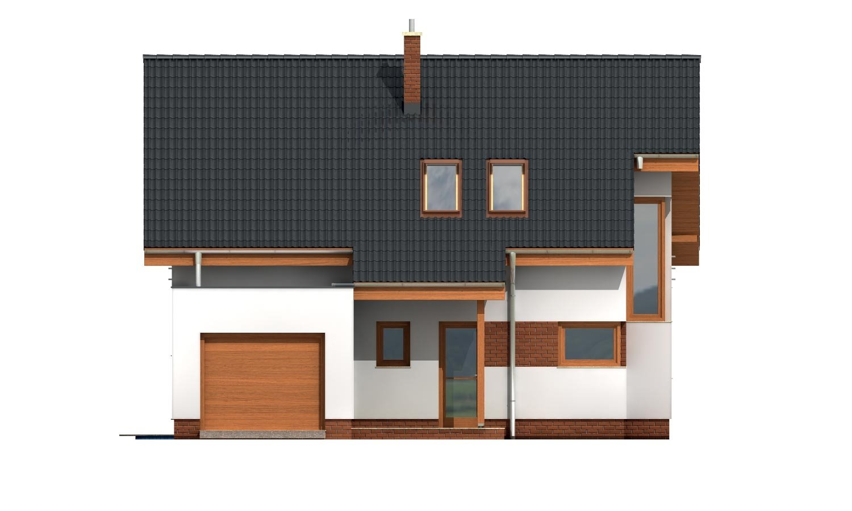 Pohľad 1. - Moderný dom s obytným podkrovím a garážou.
