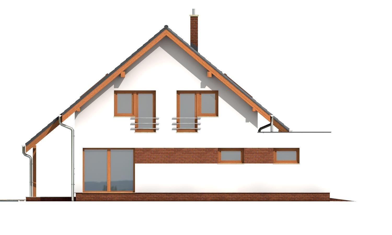 Pohľad 2. - Moderný dom s obytným podkrovím a garážou.
