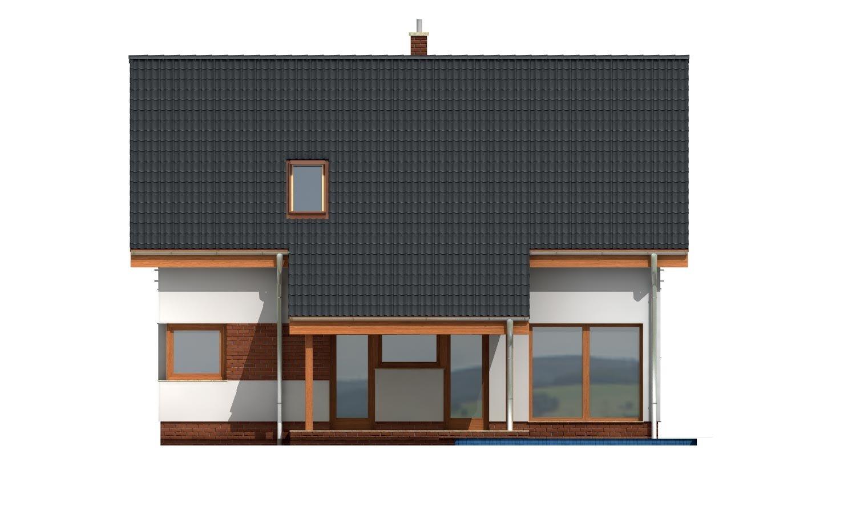 Pohľad 3. - Moderný dom s obytným podkrovím a garážou.