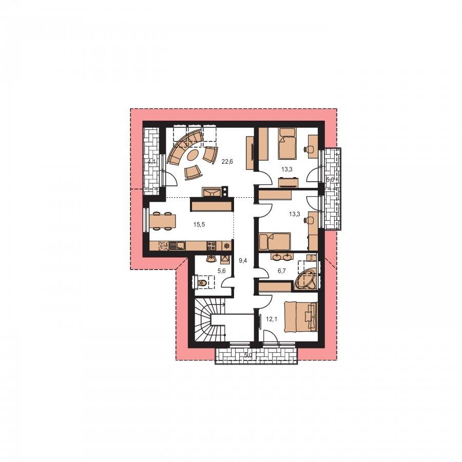 Pôdorys Poschodia - Dvojgeneračný RD s garážou a krbom na poschodí