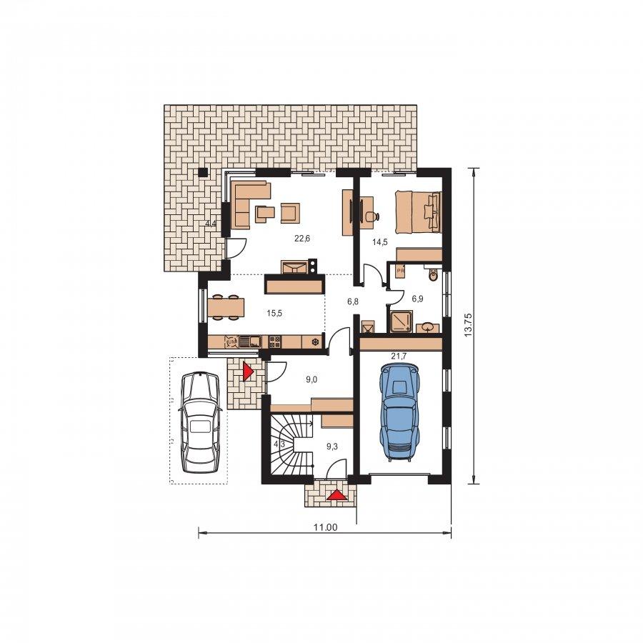 Pôdorys Prízemia - Dvojgeneračný RD s garážou a krbom na poschodí