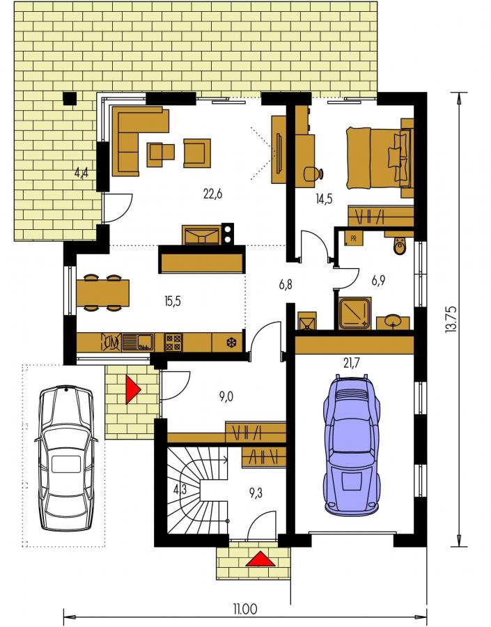 Pôdorys Prízemia - Dvojgeneračný RD s garážou a krbom na poschodí.