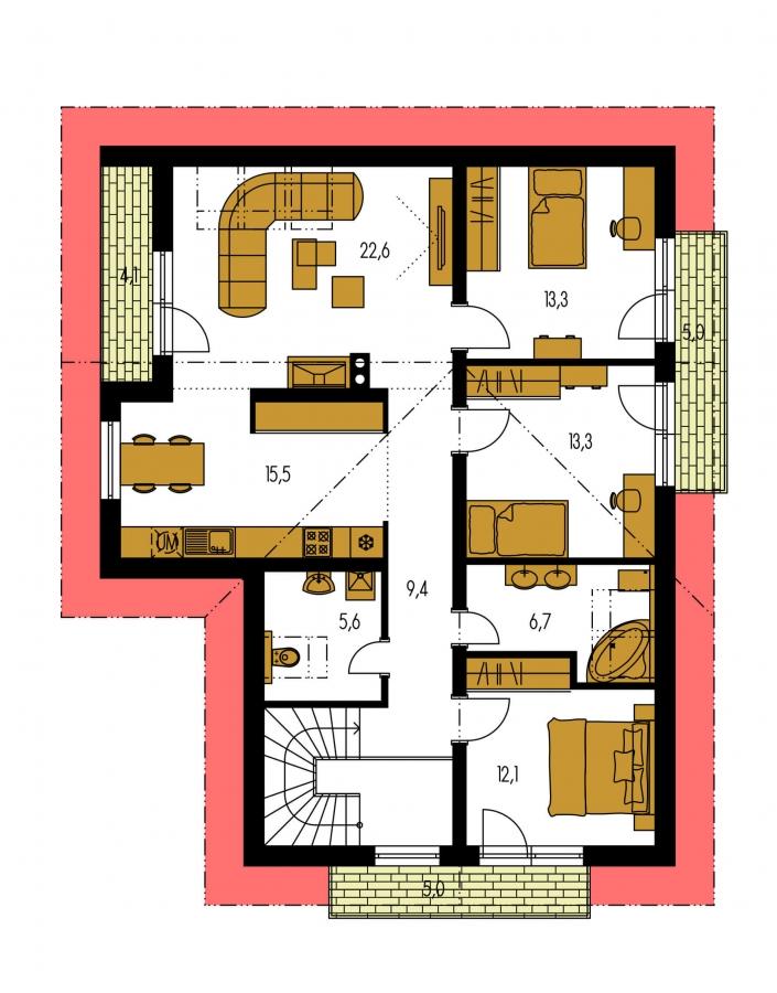 Pôdorys Poschodia - Dvojgeneračný RD s garážou a krbom na poschodí.