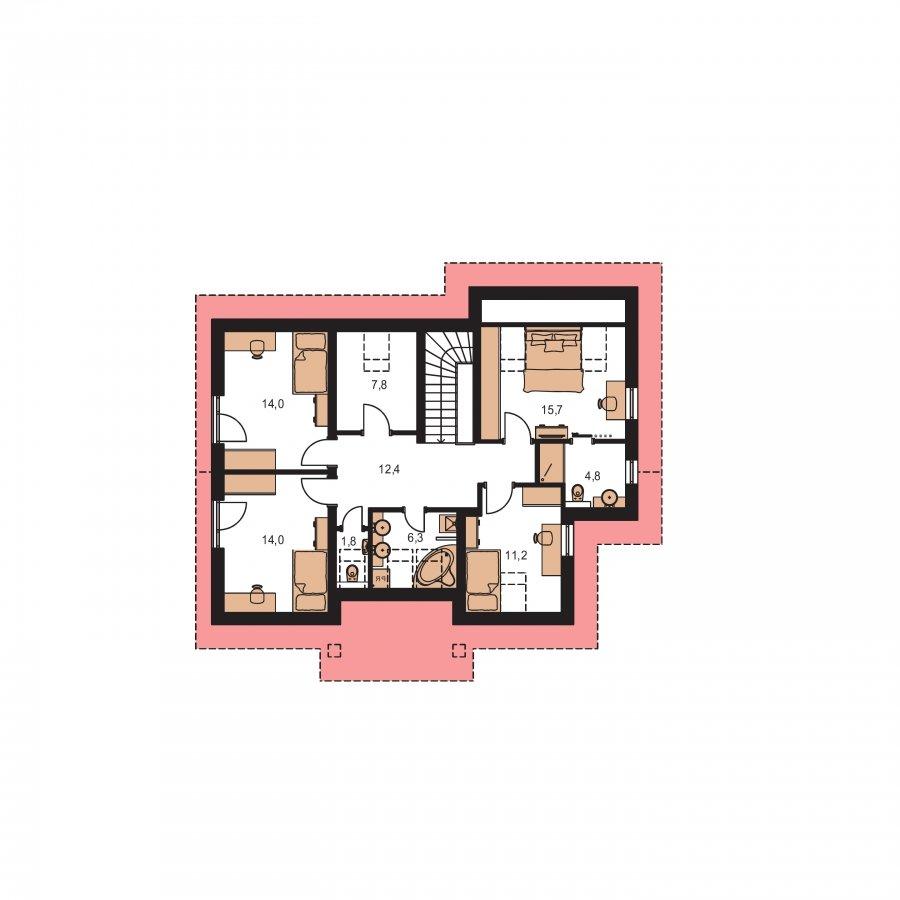 Pôdorys Poschodia - Poschodový dom s veľkou garážou