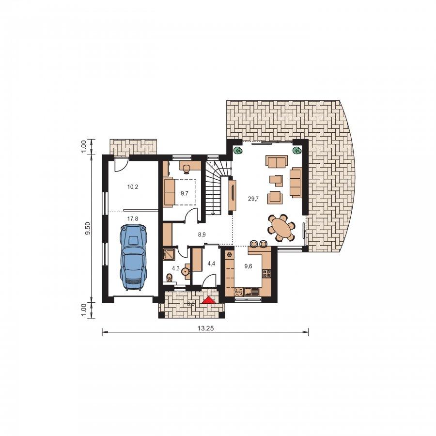 Pôdorys Prízemia - Poschodový dom s veľkou garážou