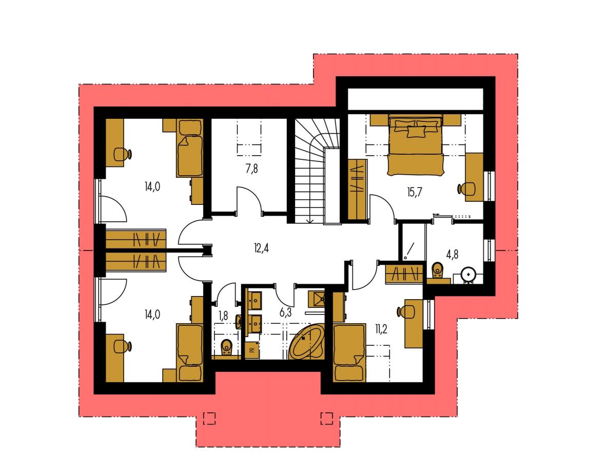 Pôdorys Poschodia - Poschodový dom s veľkou garážou.