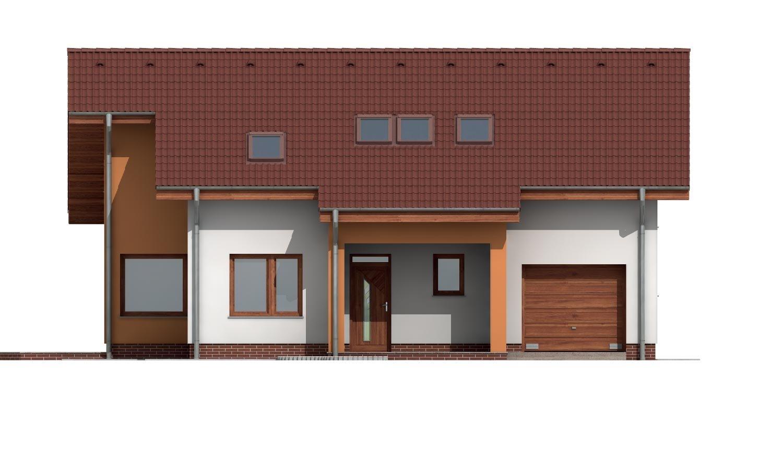 Pohľad 1. - Poschodový dom s veľkou garážou.