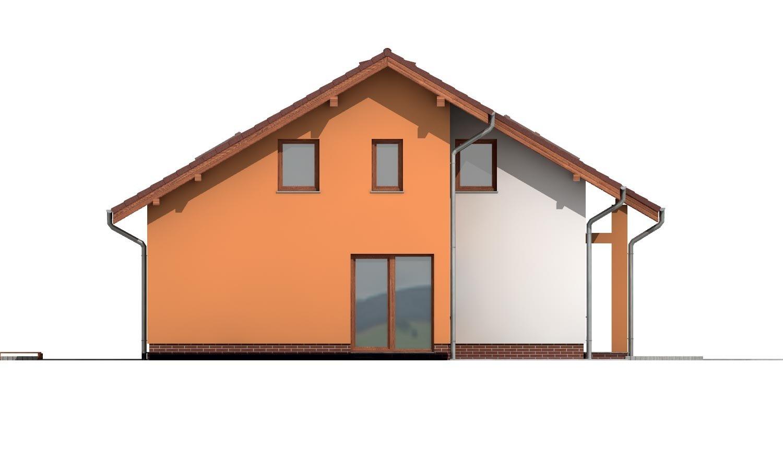 Pohľad 2. - Poschodový dom s veľkou garážou.