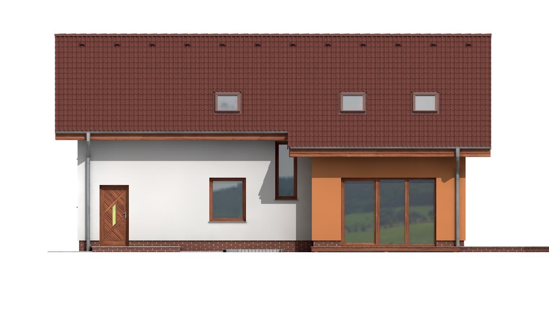 Pohľad 3. - Poschodový dom s veľkou garážou.