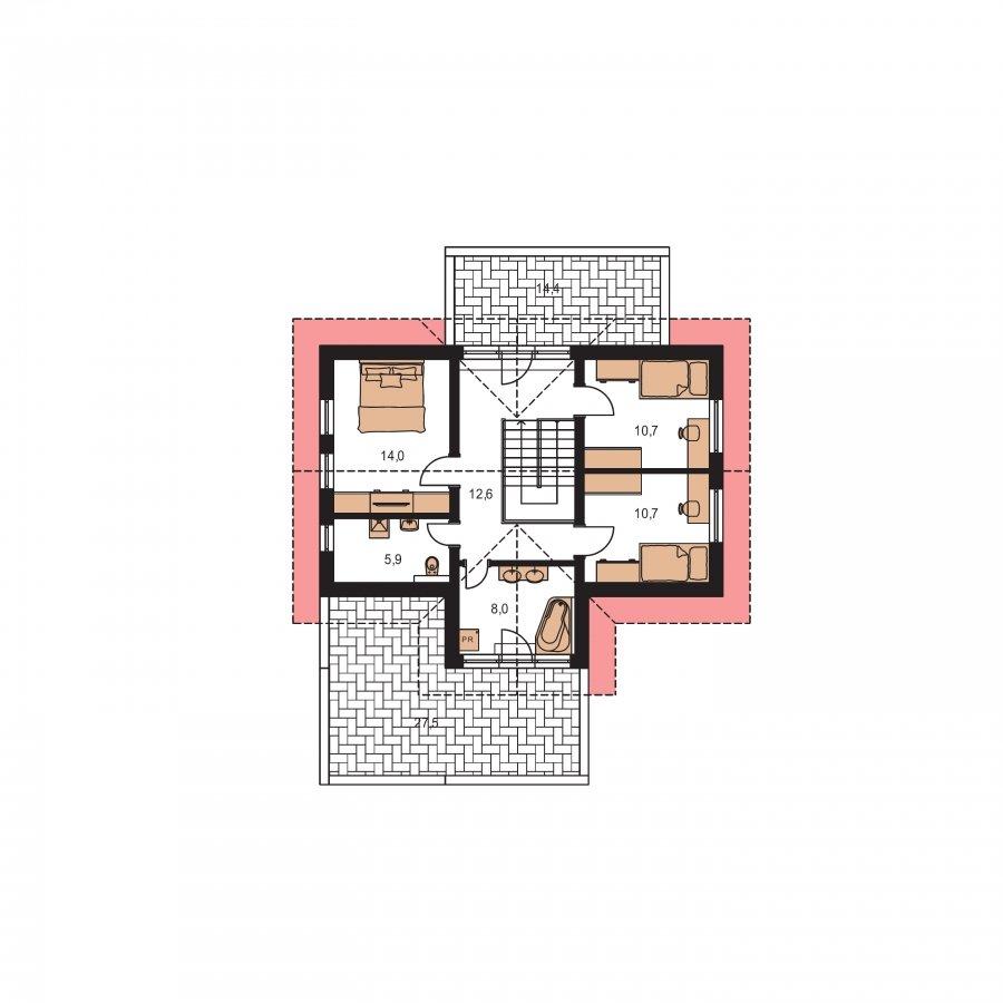 Pôdorys Poschodia - Projekt RD s priestrannými terasami