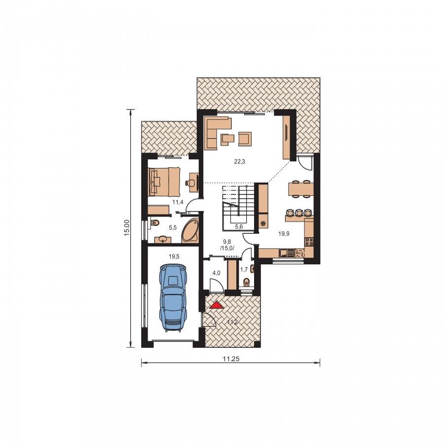 Pôdorys Prízemia - Projekt RD s priestrannými terasami