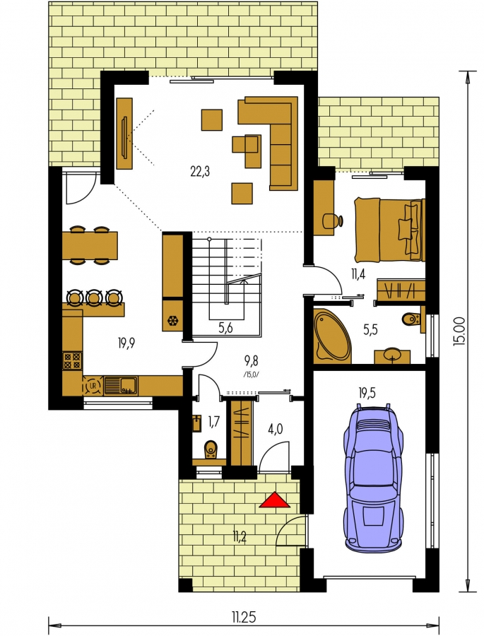 Pôdorys Prízemia - Projekt domu s priestrannými terasami na poschodí.