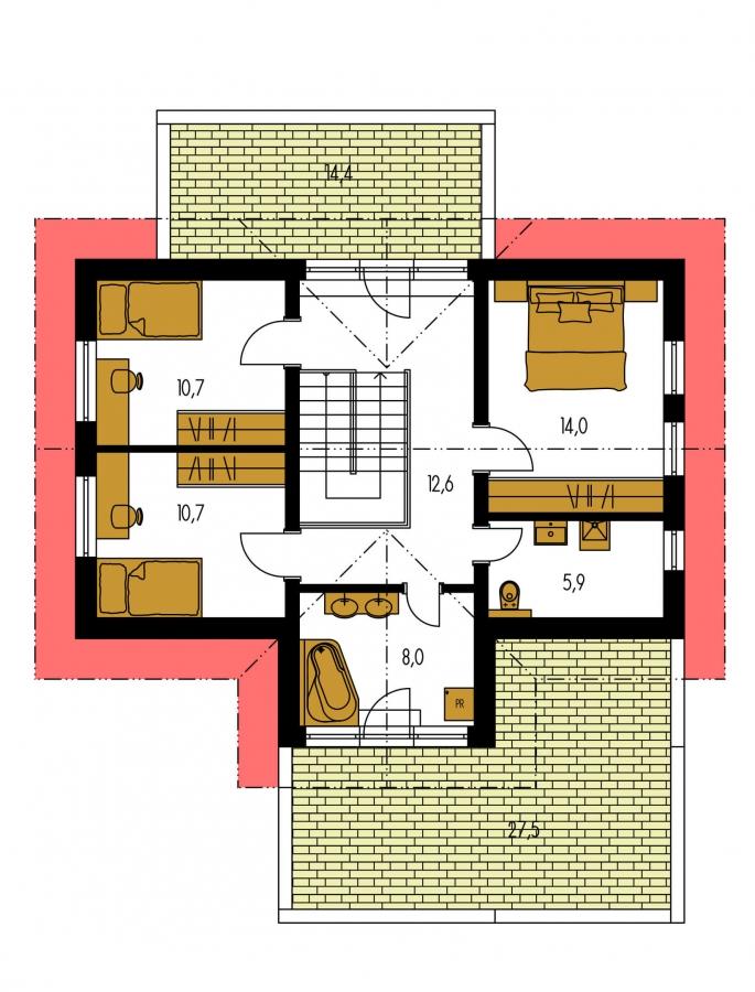 Pôdorys Poschodia - Projekt domu s priestrannými terasami na poschodí.