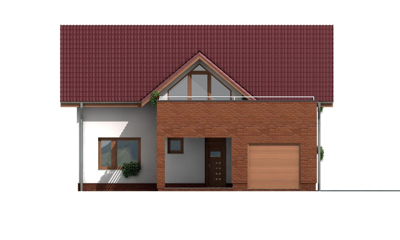 Pohľad 1. - Projekt domu s priestrannými terasami na poschodí.