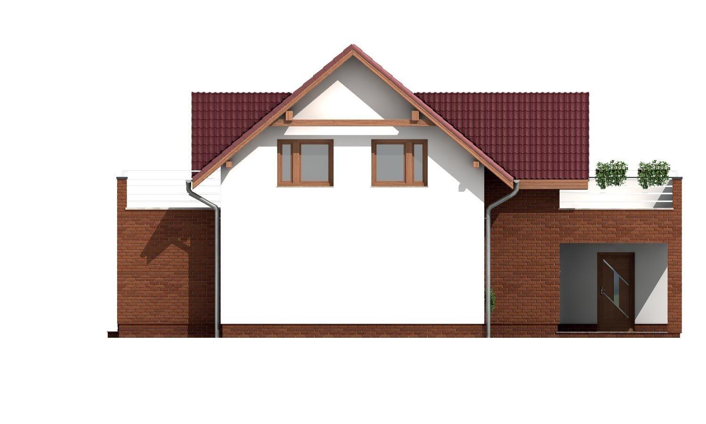 Pohľad 2. - Projekt domu s priestrannými terasami na poschodí.