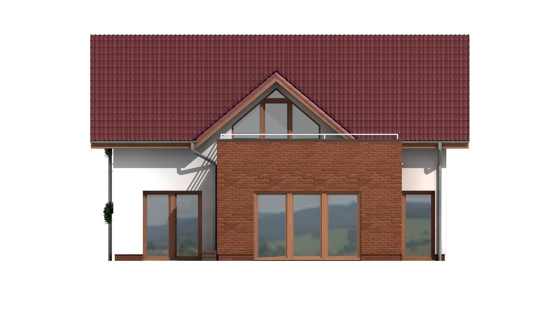 Pohľad 3. - Projekt domu s priestrannými terasami na poschodí.