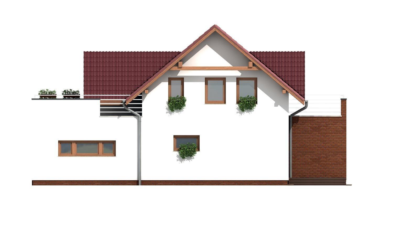 Pohľad 4. - Projekt domu s priestrannými terasami na poschodí.