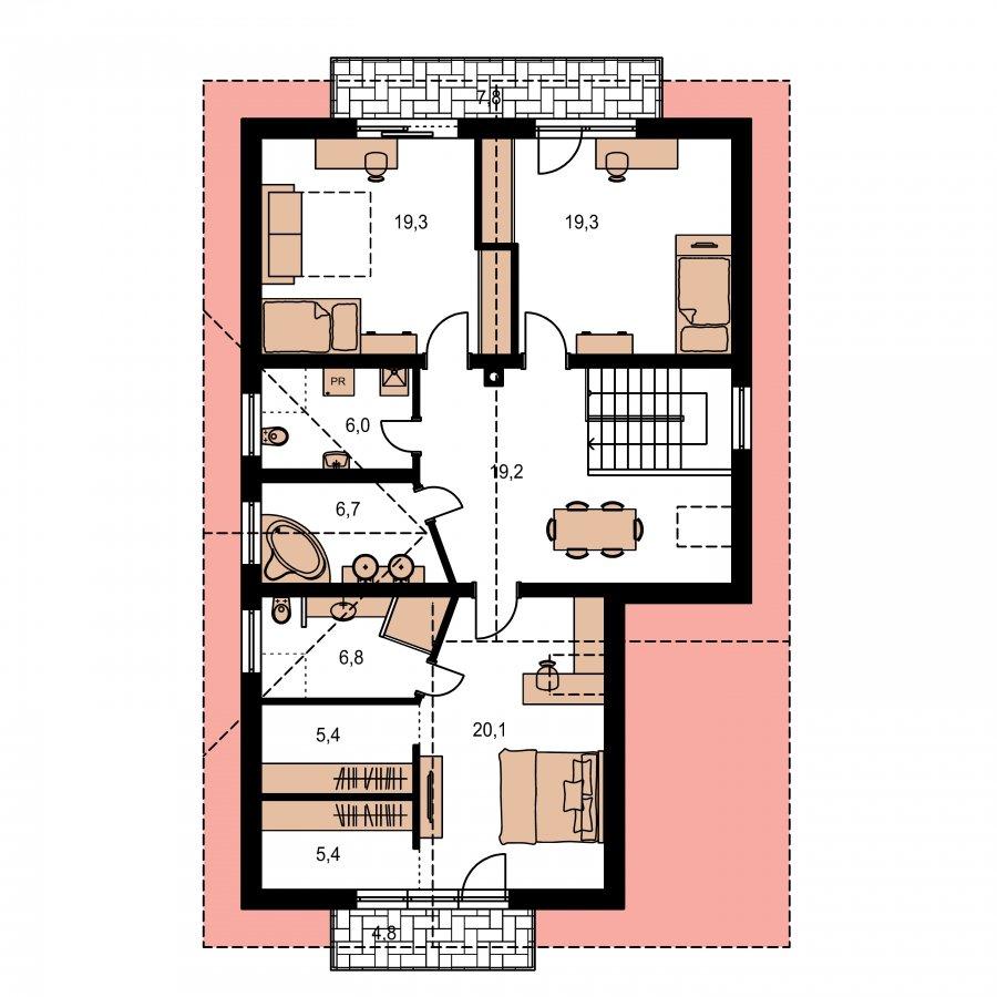 Pôdorys Poschodia - Rodinný dom s dvojgarážou